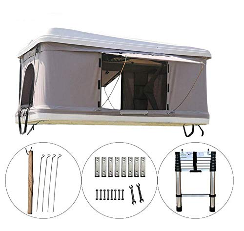 DANCHEL OUTDOOR Hard Shell Rooftop Tent for Cars, White Grey