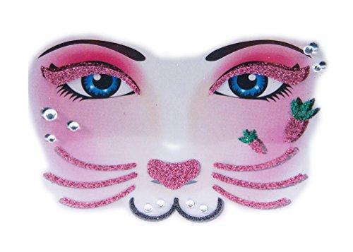 Instant Makeup - Face Designs - Tiger - Leopard - Bones - Spiderweb- Bunny - Cat (Bunny)