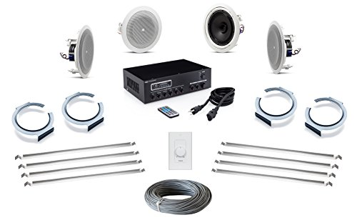 - JBL 8128 In-Ceiling Loudspeaker Bundle with Pure Resonance Audio MA30BT Bluetooth Mixer Amplifier and Hardware - Office Sound System (4 Speakers, White)