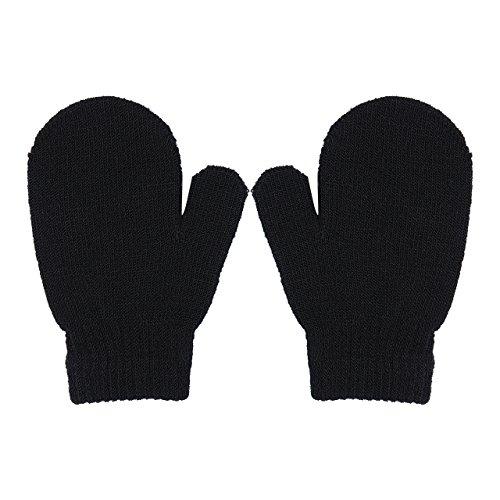 (Toddlers Girls Boys Gloves 1 Pair Winter Kids Warm Knitting Gloves Stretch Magic Mittens (Black))