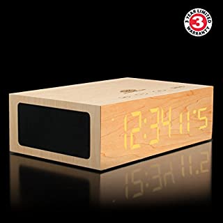 GOgroove TYM Bluetooth Digital Alarm Clock Speaker - Wood Alarm Clock w/Built in Microphone, LED Time & Date Display, Paired Streaming or AUX for Phones, MP3 Players, Tablets (Light Stain) (B00C2ALKQ4) | Amazon price tracker / tracking, Amazon price history charts, Amazon price watches, Amazon price drop alerts