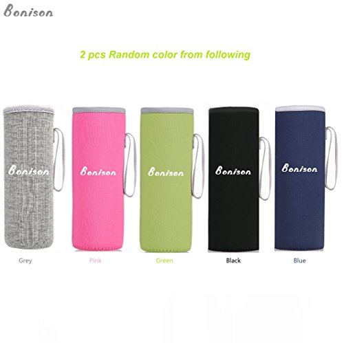 Bonison Nylon Sleeve Coloful Assortment Protection Sweat Absorption Insulation Carrying Borosilicate Glass Bottle Holder (Pink, Blue, Black, Grey, Lime Green) (Random Color, 2 Pieces)