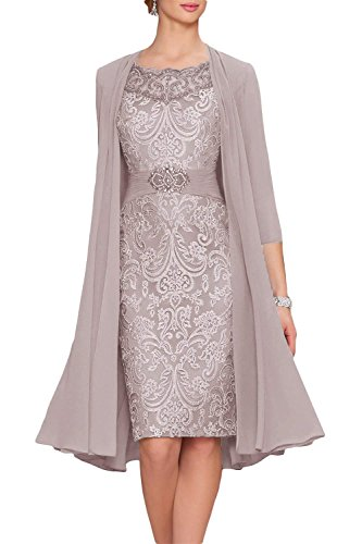 Newdeve Chiffon Mother of The Bride Dresses Tea Length Two Pieces with Jacket Silver Grey (Elegant Tea Length Mother Of The Bride Dresses)