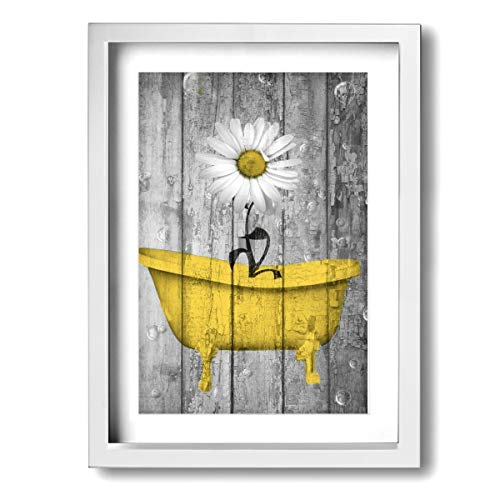 Framed Modern Canvas Wall Art Yellow Daisy Bathroom, Oil Painting Pictures Decor with Mat Ready to Hang for Home Kitchen Bathroom Office - 12 X 16 Inch