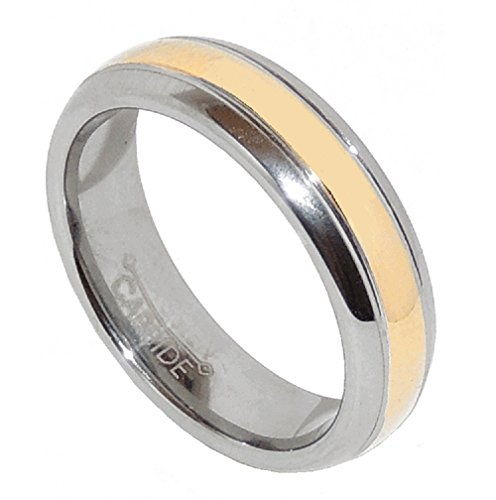(Lanyjewelry Classic Tungsten Carbide Gold IP Stripe Center Wedding/Engagement Ring -13)