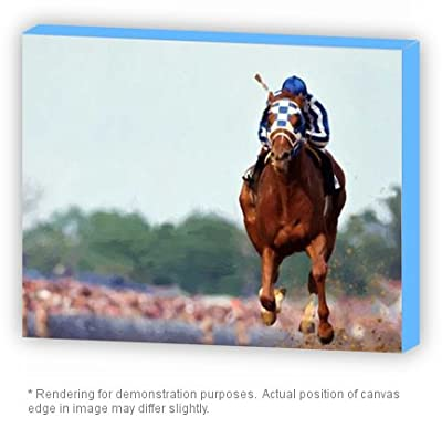 Celebrity Framed Art Canvas Wrap Oil PAINTING Secretariat Wins Triple Crown Race (Poster or canvas wrap 5 choices)