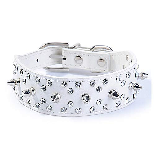 Wellbro Spiked Studded PU Leather Dog Collar, Fashionable and Colorful Dog Training Collar, with Bullet Rivets and Rhinestones, Soft and Adjustable for Medium and Large Pets (L, White)