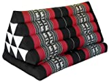 Thai triangle cushion XXL, with 1 folding seat, black/red, sofa, relaxation, beach, pool, meditation, yoga, made in Thailand. (81616)