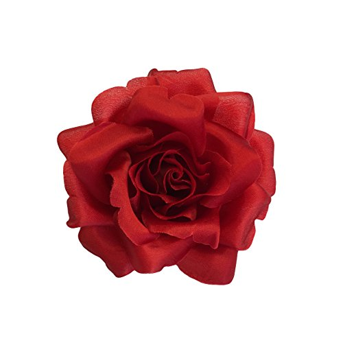 Red Rose Silk Fabric Flower Brooch Pin For Women Hand Made in Historic New York Garment District (Oldest Factory in USA)