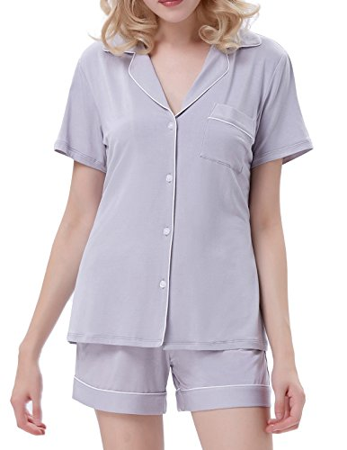 1cbc934574 Galleon - Elastic Fit Sleepwear With Pants Soft Pajama Sets For Women Gray Size  S ZE36-3