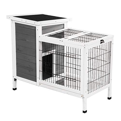 Good Life Wooden Outdoor Bunny Hutch Rabbit Cage Guinea Pig Coop PET House Gray & White Color PET502