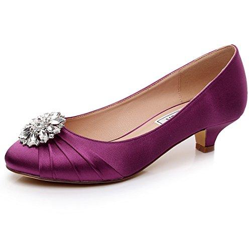Luxveer Gattino Tacco Raso Scarpe Da Sposa Scarpe Da Donna Sexy Con Strass Tacco Basso 1,5 Pollici Rs-2067 Viola
