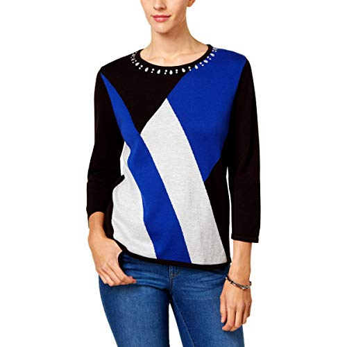 Alfred Dunner Color Blocked Sweater Black Large ()
