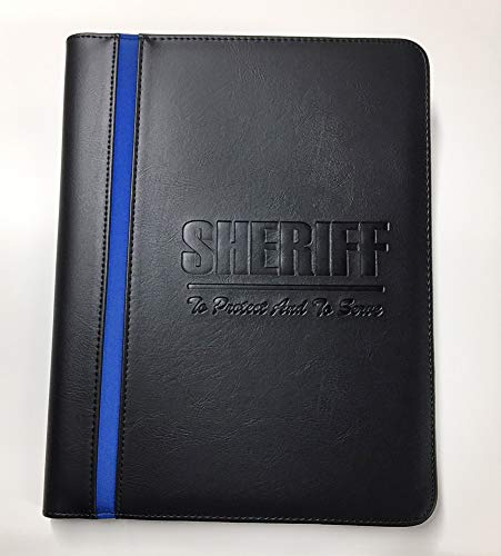 Deputy Sheriff Padfolio Notepad Holder – Sheriff Gifts with A Deputy Sheriff Prayer Print & 3 Thin Blue line American Flag Laptop Stickers and an American Flag Car ()