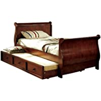 Furniture of America Williamson Platform Sleigh Bed with Twin Trundle, Full, Dark Cherry Finish