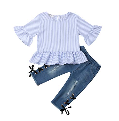 Two Piece Baby Girl Outfit Flare Sleeve Striped T Shirts Tops and Destressed Ripped Jeans Tie Up Pants Clothes (2-3 Years, A) (3 Piece Blouse)