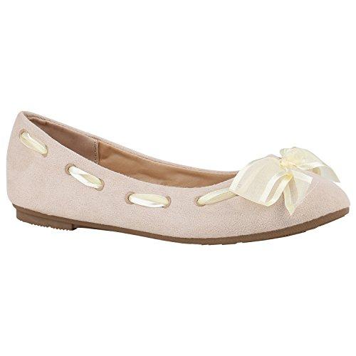 Stiefelparadies Klassische Lack Ballerinas Damen Flats Velours Metallic Ballerina Schuhe Schleifen Glitzer Damenschuhe Flandell Creme Schleifen