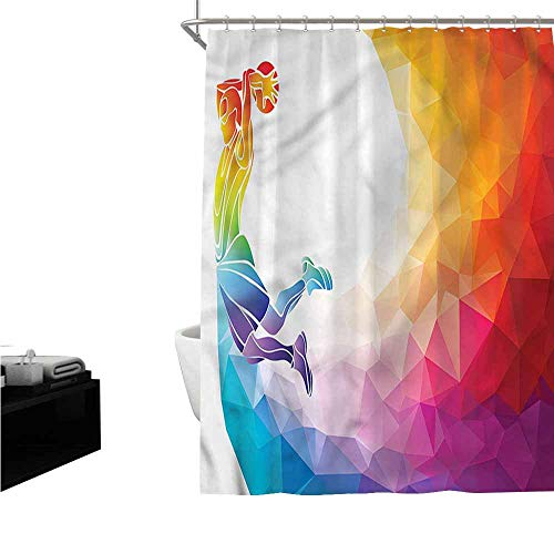 Jiahong Pan Basketball,Waterproof Shower Curtains Basketball Player Jumps European Style Bathroom Decoration,Multicolor,W72 xL96 (Best European Basketball Players)