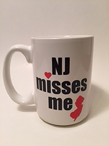 NJ (New Jersey) Misses Me Coffee Mug, Wine Glass (Stemmed or Stemless) or Travel Cup with Lid