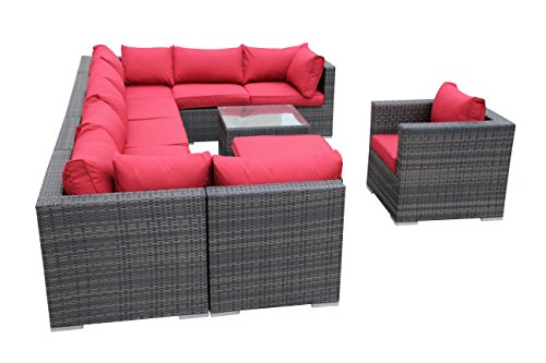 SMU 11Pcs Outdoor Rattan Wicker Corner Chaise Sofa Sectional Patio Furniture Set price
