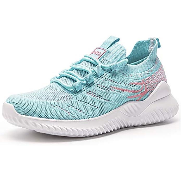 Akk Womens Athletic Walking Shoes - Memory Foam Lightweight Tennis Sports Shoes Gym Jogging Slip On Running Sneakers