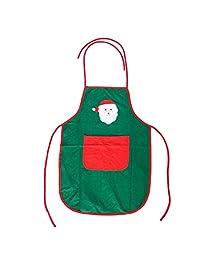 Toyvian Christmas Women Apron Santa Claus Pattern Christmas Cooking Apron Christmas Party Decorations (Green)