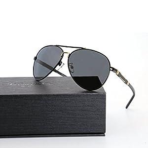 Natwve&Co Aviator Sunglasses Polarized Mirror UV 400 Production Lens For Mens Womens 60mm (Black/Black)