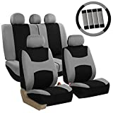 FH Group FB030GRAYBLACK115-COMBO Seat Cover Combo Set with Steering Wheel Cover and Seat Belt Pad (Airbag Compatible and Split Bench Gray Black)