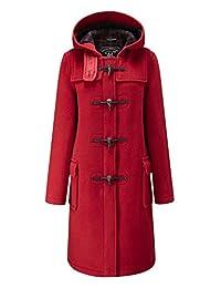 Ladies Classic Long Duffle Coat Red