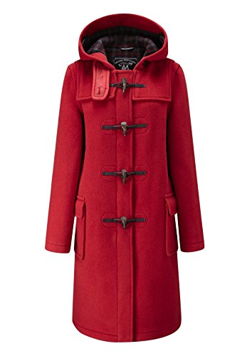 Ladies Classic Long Duffle Coat Red-18 -