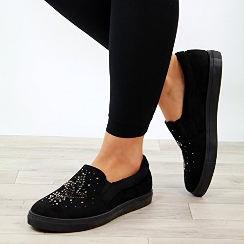 New Womens Flat Casual Sneakers Embellished Trainers Comfy Pumps Shoes Black m1XVBwrY