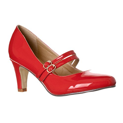 Riverberry Women's Mila Chunky, Mid Heel Mary Jane Pump Heels, Red Patent, 10 ()