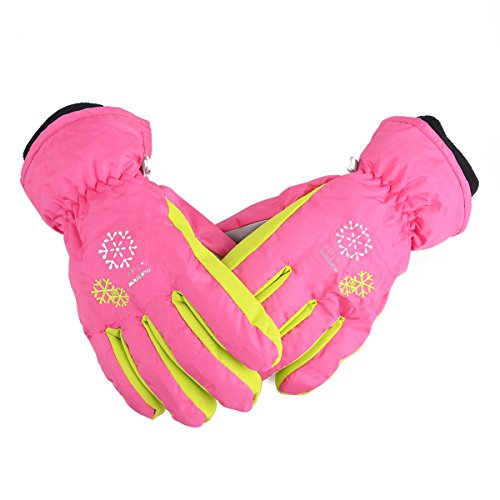 Triwonder Ski Snowboard Gloves for Kids - Waterproof Winter Warm Gloves Thermal Fleece Snow Gloves (XS, Rose Red)