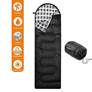 "Elecfly Sleeping Bag with Compression Sack, Envelope Portable and Lightweight Cotton Flannel Sleeping Bag for 4 Season Camping, Hiking, Traveling, Backpacking and Outdoor Activities (86""L x 30""W)"