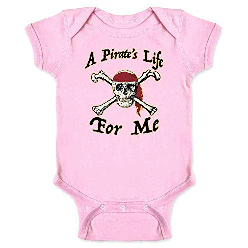 (Pop Threads A Pirate's Life for Me Halloween Costume Skull Pink 6M Infant Bodysuit)