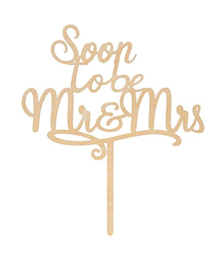LOVENJOY with Gift Box Soon To Be Mr and Mrs Monogram Rustic Wood Wedding Engagement Cake Topper (5.9-inch) by LOVENJOY (Image #4)