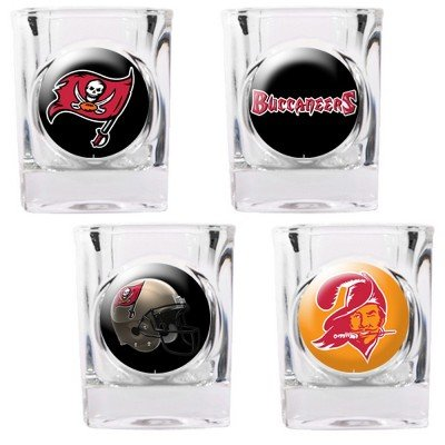 NFL Tampa Bay Buccaneers Four Piece Square Shot Glass Set (Individual - Tampa Glasses