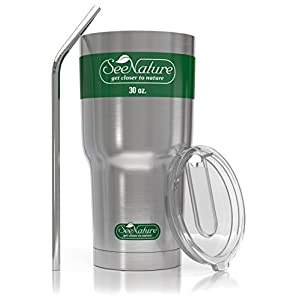 SeeNature Stainless Steel Tumbler - 30oz, Double Wall, Vacuum Insulated Keeps Your Drink Hot Longer - Cup, Lid & Straw, Coffee Travel Mug Set