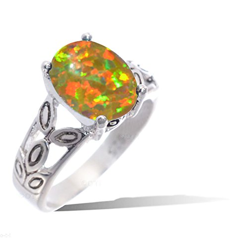 Oval Simulated Mexican Golden Fire Opal Ivy Leaf Petal Fashion Genuine 925 Sterling Silver Ring ()