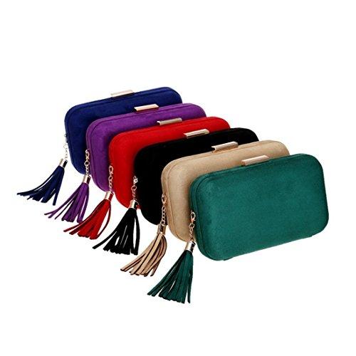 Women Bag Clutch Color Bag Khaki Handbag Shoulder Evening KERVINFENDRIYUN Khaki Tassel Purse Dress For Leather Evening g7Sqwpa
