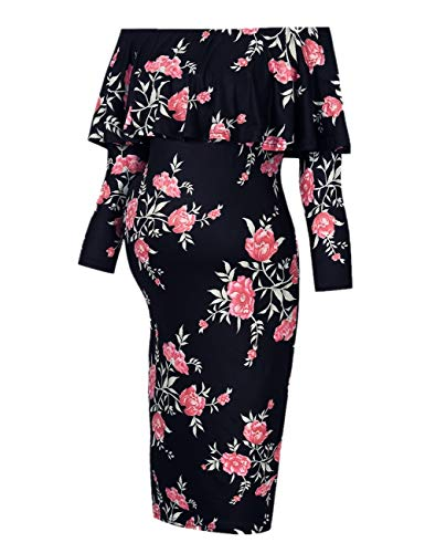 Coolmee Women's Maternity Dress 3/4 Sleeve Off Shoulder Casual Maxi Dress (S,Black Flower-Long)