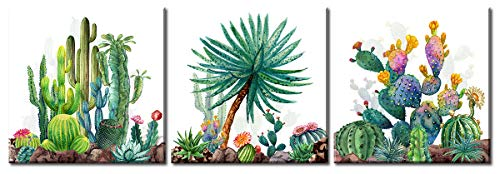 (Cactus Pictures Canvas Wall Art Decor - 3 Piece Various Cacti on Watercolor Background - Modern Tropical Plants Painting for Bathroom Bedroom Minimalist Home Office Decorations - Framed Ready to Hang)