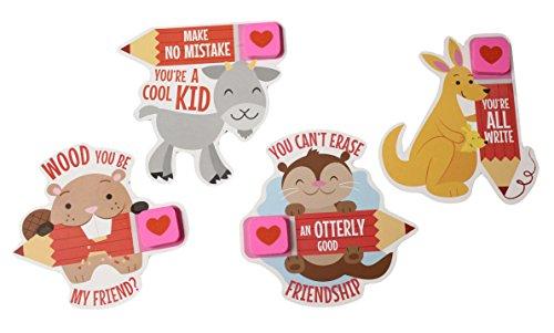 24 Animal With Erasers Valentines Day Cards for Kids Exchange - Cute Unique - 2 Dozen Bulk
