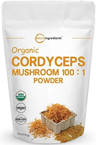 Sustainably US Grown Organic Cordyceps Mushroom 100:1, 6 Ounce, Supports Energy and Immune Health, No GMOs and Vegan Friendly
