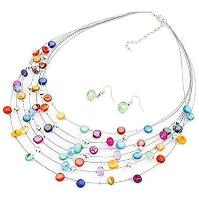 TOOGOO(R) Gorgeous Beaded Multi Strand Necklace and Drop/Dangle Earring Set-Multicolor (Drop Beaded Necklace Multi Color)