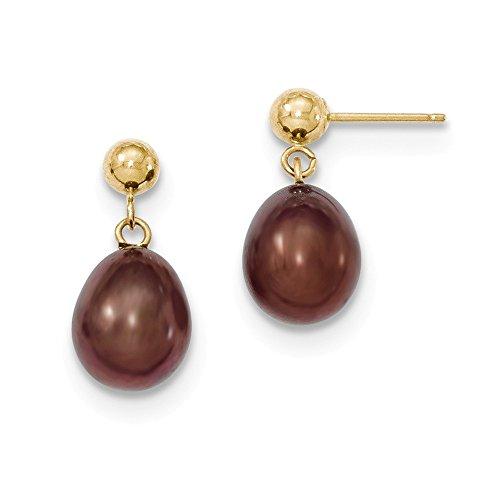 Fw Brown Gold Pearl (Genuine 14k 8-9mm Brown FW Cultured Pearl Dangle Earrings 18 x8.5mm)
