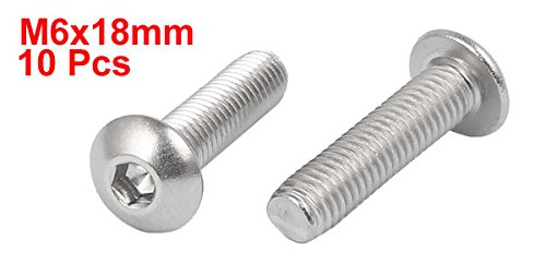 uxcell M6x18mm 316 Stainless Steel Button Head Hex Socket Cap Screw Bolt Fastener 10pcs
