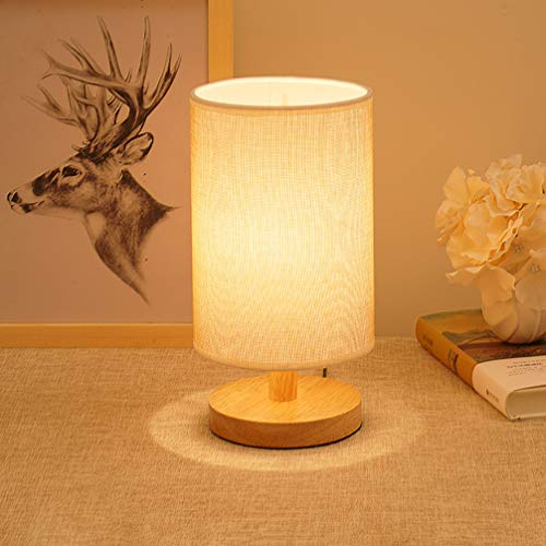 LED Table Lamp Bedside Desk Lamp,Eye-Caring Minimalist Solid Wood Nightstand Lamps, E26 Modern Simple Flaxen Fabric Shade Light for Bedroom Living Room, Kids Room, Bookcase, Office(Round) Review