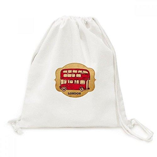 UK London Red Double-decker Bus Stamp Canvas Drawstring Backpack Shopping Travel Lightweight Basic Bag Gift