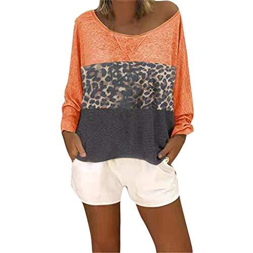 SUNyongsh Women Casual Shirt Leopard Print Long Sleeve Pullover V-Neck Patchwork Top Blouse Orange